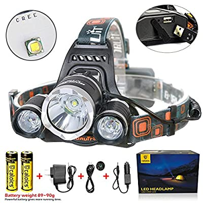 Boruit® Headlamp 5800 Lumens with 3*Cree XML L2 LED Super Bright Flashlight for Hunting, Camping, Night Fishing, Running, Reading, Kids, Perfect Hands-free Rechargeable & Waterproof Work Light