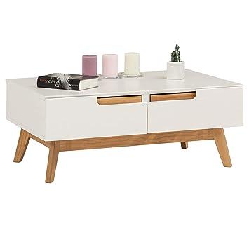 Idimex Table Basse Tibor Style Scandinave Design Vintage Nordique Table De Salon Rectangulaire Avec 2 Tiroirs Et 2 Niches En Pin Massif Lasure Blanc
