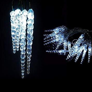 Guirlande Lumineuse D Extérieure 8 M 40 Stalactites ø 18 Mm Led Bleu 24v Lumière Fixe Câble Vert