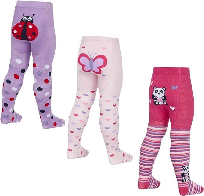 Bebé niñas Medias Algodón Rico Anti Slip Grips Animal Lindo Bum 3 Diseños 0-24m