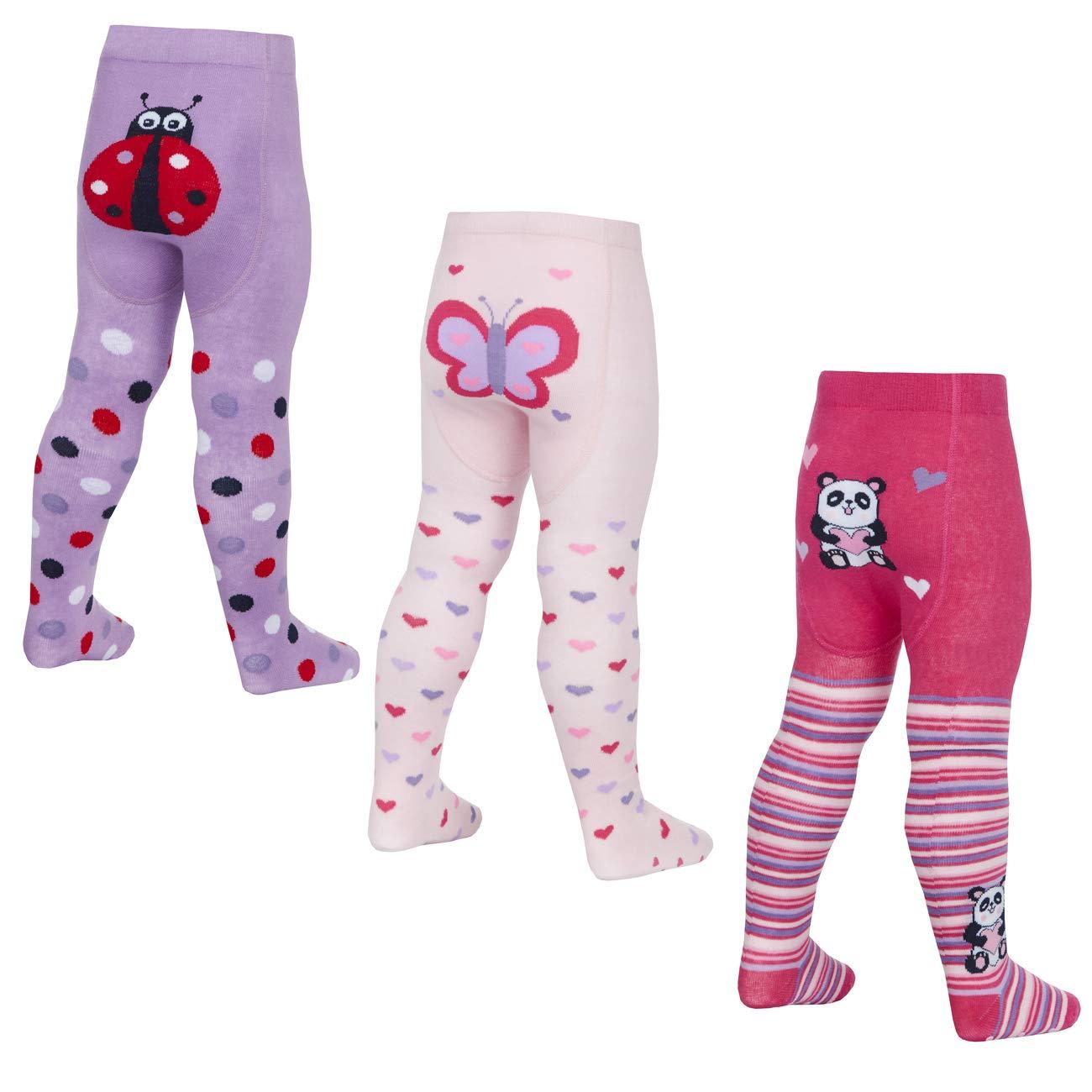 Metzuyan Babies Girls 3-Pack Tights Cotton Rich Non Skid