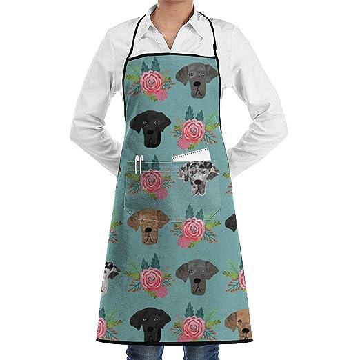 Great Dane Delantal de chef de cocina ajustable con bolsillo y ...