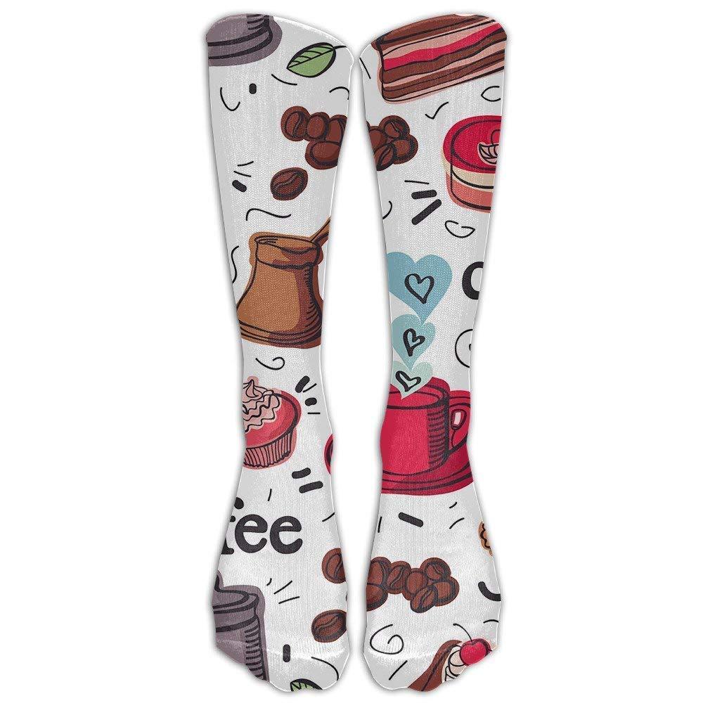 dfegyfr Coffee Icon Design Compression Socks Soccer Socks Knee High Socks For Running, Medical, Athletic, Edema, Diabetic, Varicose Veins, Travel, Pregnancy, Shin Splints, Nursing.