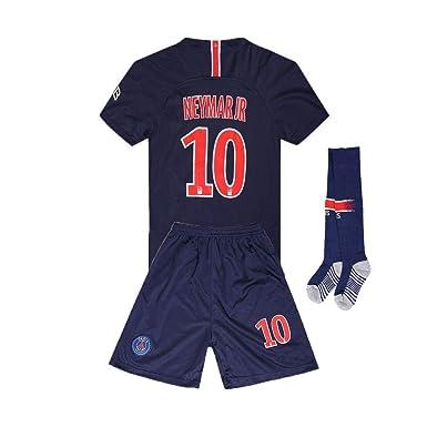 f53e9ac3e1359 LAALANA Neymar Jr #10 Paris St Germain 2018/2019 Home Kids/Youth Socce  Jersey & Shorts & Socks