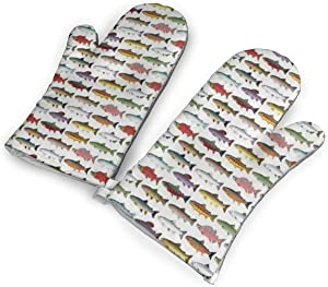 Rainbow Colored Trout and Salmon Kitchen Oven Mitts, Cotton Long Microwave Oven Gloves, Extreme Heat Resistant 572 Degrees Nonslip Gloves for Potholders Cooking, BBQ, Frying, Baking (1 Pair)