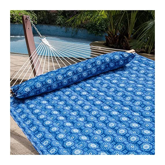 Lazy Daze Hammocks Quilted Fabric Hammock with Pillow for Two Person Double Size Spreader Bar Heavy Duty Stylish, Blue Floral - 【SUPER COMFY】The double-layered quilted polyester with inner polyester padding and a polyethylene stuffing head pillow offer superior comfort. No matter it's in summer or winter, this hammock will always be your first choice for relaxation. 【SUPER DURABILITY】Handcrafted polyester ropes add character and authenticity, and thickness of the end cords contribute greatly to the balance and strength of the hammock. Lay in the hammock with no concern ever. 【SUPER LOOK】55 inches durable Hardwood spreader bar with powder coated in an oil rubbed finish, making it more stable and stylish as well as maximizing style. Believe in us, whoever sees this hammock will envy you. - patio-furniture, patio, hammocks - 61 %2B7gW WCL. SS570  -