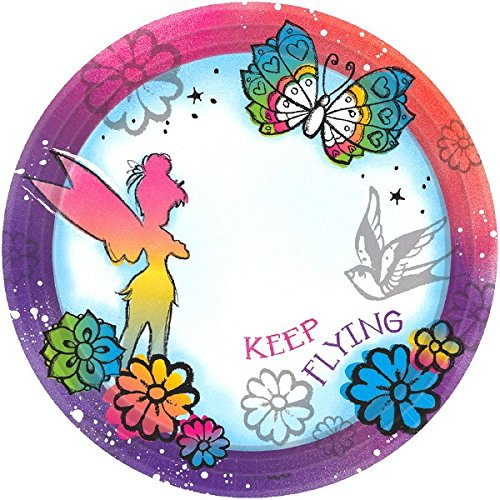 Disney Tinker Bell - Keep Flying Dessert Plates Birthday Party Disposable Tableware and Dishware (8 Pack), Multi Color, (Tinker Bell Theme Party)