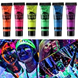 GARYOB Glow in Dark Body Paint Body&Face Glow Backlight Neon Fluorescent 0.35oz Set of 6 Tubes