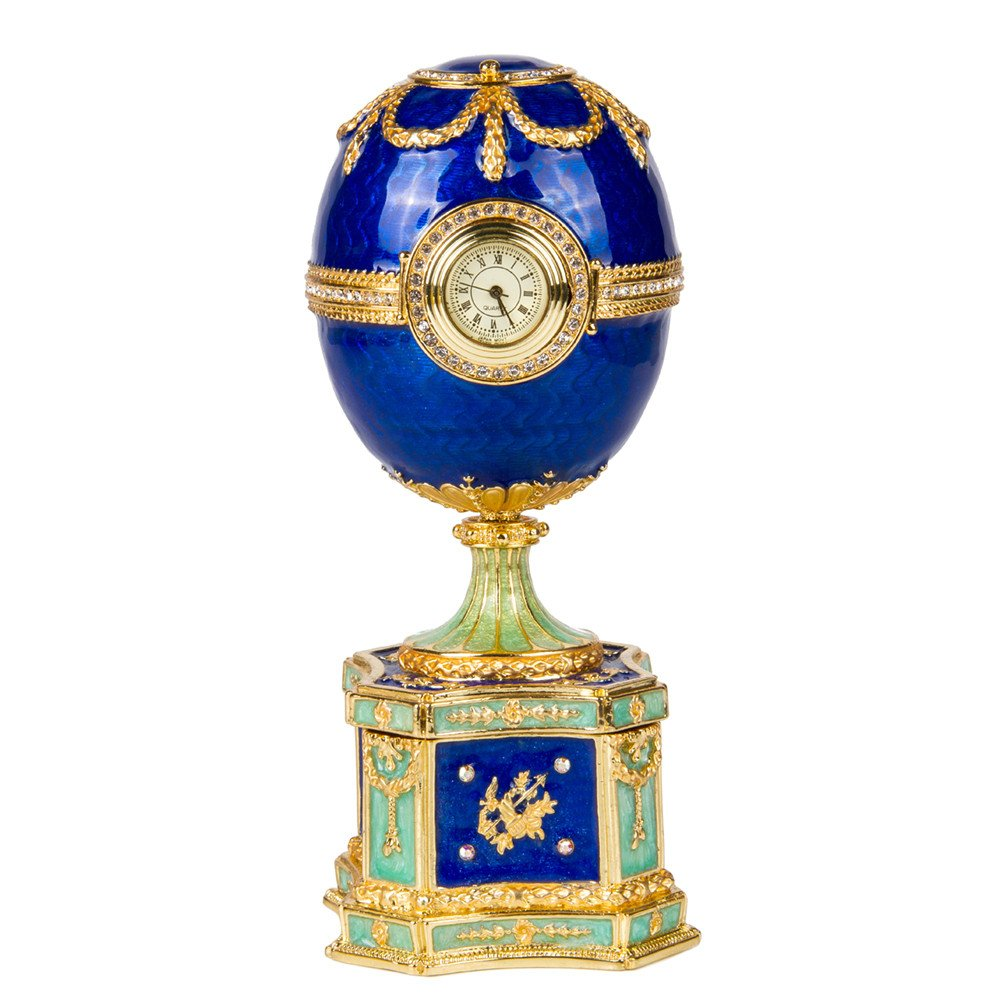 OrlovNY Swarovski Crystals Faberge Egg: Chanticleer Faberge Style Egg Jewelry Box Easter Egg Limited Edition Collectible Faberge Reproduction