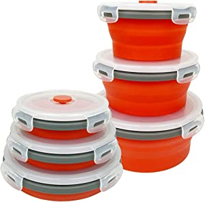 CARTINTS Red Silicone Collapsible Food Storage Containers-Prep/Storage Bowls with Lids - Round Silicone Food Storage Containers - Microwave and Freezer Safe 3Pack