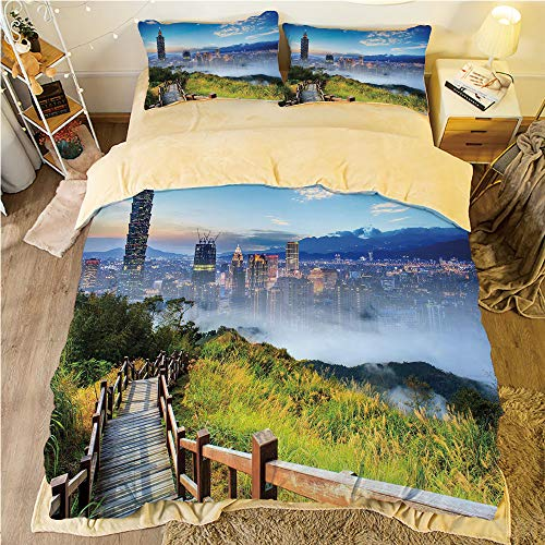 Cosmopolitan Green Sage (Flannel 4 pieces on the bed Duvet Cover Set 3D printed for bed width 4ft Pattern Customized bedding for boys and young children,Scenery Decor,Beautiful Scenery of a City Cosmopolitan Life and Nature w)