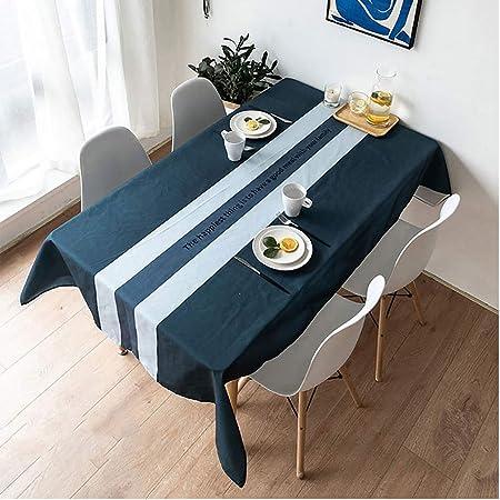 GCXZB Algodón Y Lino Mantel, Antimanchas Rectangular Paño De Mesa for Boda Ba Hoteles Decora (Color : A-Blue, Size : 100×160cm): Amazon.es: Hogar