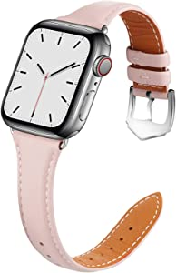 Compatible with Apple Watch Band 38mm 40mm Women for Series 6 5 4 3 2 1. Pierre Case for iWatch Bands Durable Genuine Leather Replacement Strap ( Pink )