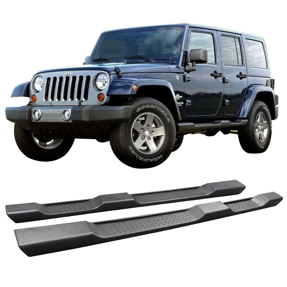 Running Board Fits 2007-2017 Jeep Wrangler | Side Step Bar OE Factory Style Unpainted Black Nylon Plastic 2PC Pair by IKON MOTORSPORTS | 2008 2009 2010 2011 2015 2016 07 08 09 10 11 12 13 14 15 16 17