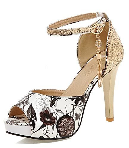 d009d27949aa Aisun Women s Peep Toe Sandals with Ankle Strap - Floral Print High Heels - Bling  Sequin