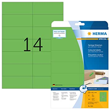 HERMA 4467 Farbige Etiketten A4 70x37 mm rot ablösbar Papier matt 480 St.
