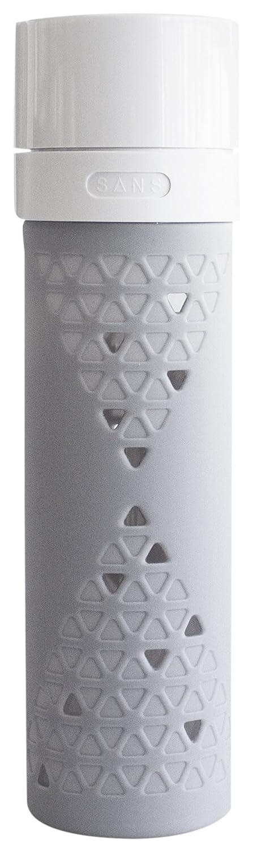 SANS Reusable Vacuum Pump Smoothie & Shake Saving Glass Bottle (16-Ounce, Glacier Gray)