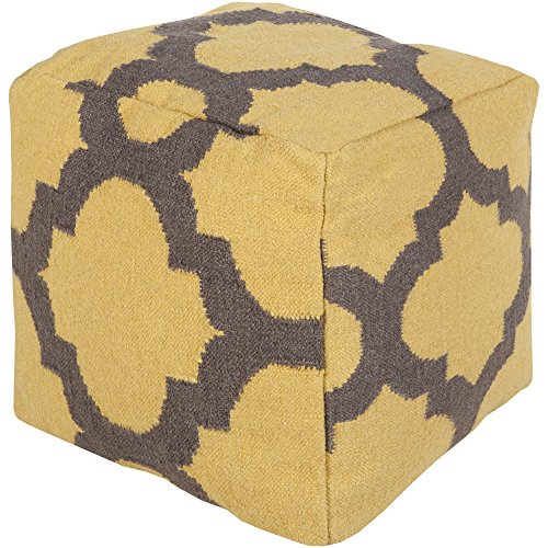 Surya POUF151-181818 100-Percent Wool Pouf, 18-Inch by 18-Inch by 18-Inch, Sunflower/Charcoal by Surya