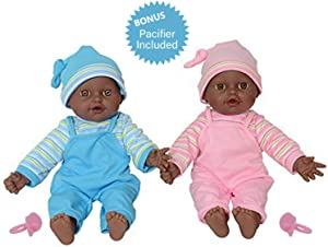 "The New York Doll Collection 12"" Sweet African American Twin Dolls Play Baby Dolls Full Body African American Twins"