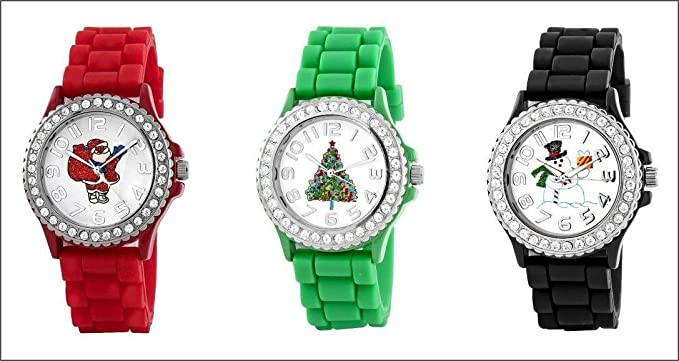 christmas watch set three red green black xmas watches crystal rhinestones bezel - Watch Black Christmas