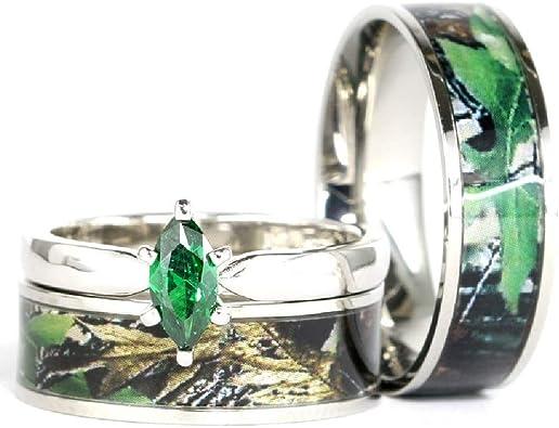 His Hers Green Camo Wedding Ring Sets Camo Wedding Band Engagement Ring Set Wedding Rings