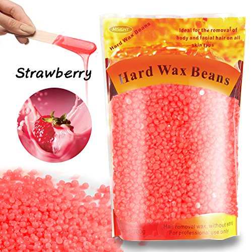 Hard Wax Beans for Painless Hair Removal - Smooth Facial Skin Body Hair Depilatory Wax Beads for Wax Warmer Kit, Brazilian Bikini Waxing Kit, 10.5 Oz Strawberry +10 Wax Applicator (Max Wax Stick)