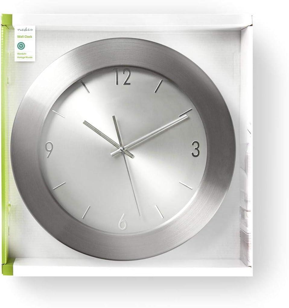35 cm de Diam/ètre NEDIS CLWA011MT35AL Horloge Murale Circulaire Acier Inoxydable