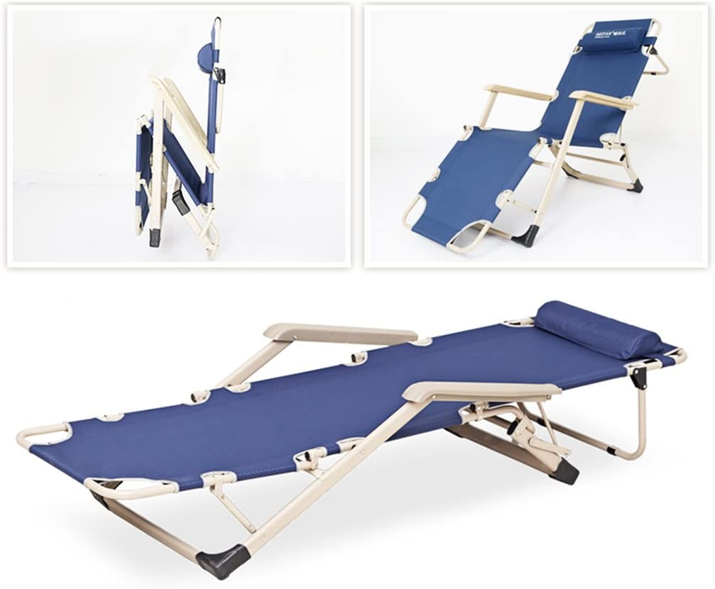 Tywa WYF Lunch Break Lounge Chair Folding Beach Chair Cool Balcony Chair Siesta Bed Office Back Lazy Chair Folding Bed (color : 2) 1