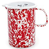 enamelware red pitcher - Enamelware Measuring Pitcher - Red on White Marble