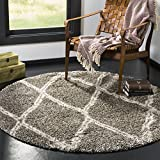 Safavieh Hudson Shag Collection SGH329B Grey and Ivory Round Area Rug (7′ Diameter) Review