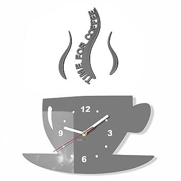 Moderno reloj de pared de cocina TAZA, acrílico, gris, 32 cm x 19 cm, 3d, estilo moderno, 3d silencioso, diseño: Amazon.es: Hogar