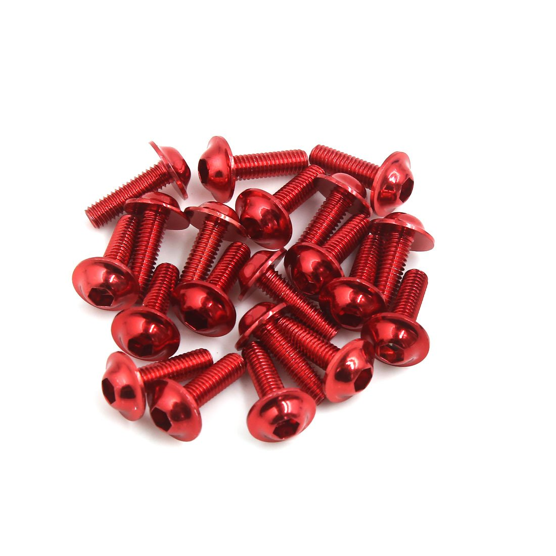sourcingmap 20Pcs Universal Moto VTT Fairing boulons /à six pans creux 6mm x 20mm rouge