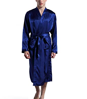 Admireme Men s Satin Kimono Robe Spa Bathrobes Loungewear Sleepwear Long  Bathrobe Lightweight Silk Nightwear Blue 001d46c1d