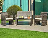 SUNCROWN Outdoor Furniture Grey Wicker Conversation Set with Glass Top Table (4-Piece Set) All-Weather | Thick, Durable Cushions with Washable Covers | Porch, Backyard, Pool or Garden