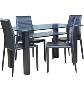 574818ae9ef Royaloak Roger Dining Set with 4 Chairs (Black)  Amazon.in  Home ...