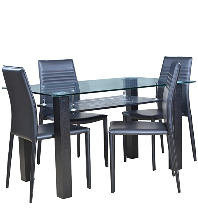 331d35b4ae88 HomeTown Presto Four Seater Dining Table Set (Black): Amazon.in: Home &  Kitchen
