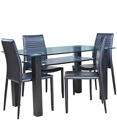 d94dae365a6 HomeTown Presto Four Seater Dining Table Set (Black)  Amazon.in ...