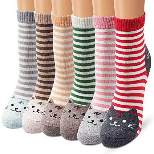 (Ambielly Women Socks Cute Animal Patterned Casual Cotton Socks (6 Stipe Cats))