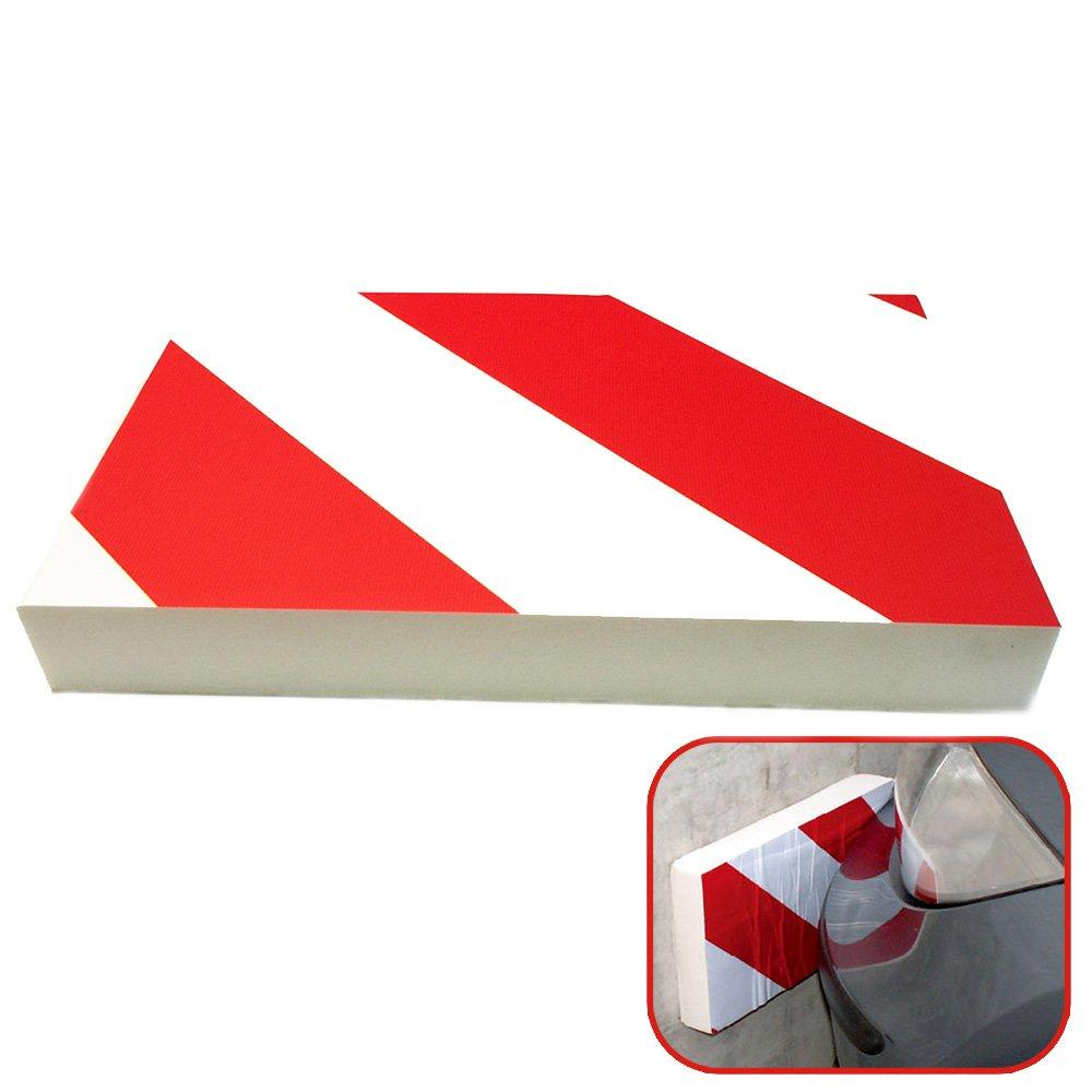Protector aparcamiento garaje 1 unidad 24x18x4cm Blanco Rojo Paragolpes de garaje espuma autoadhesiva MovilCom/® Protector parking coche Protector columnas parking y pared aparcamiento coche