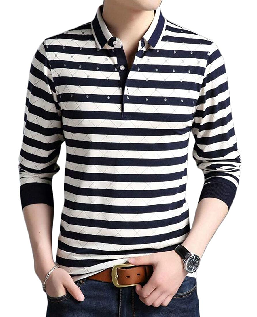 Mens Casual Striped Cotton T Shirts Classic Fit Long Sleeve Polo Shirt