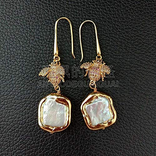 (White Square Pearl 24k Golden Plated Pave Beetle Hook Earrings)