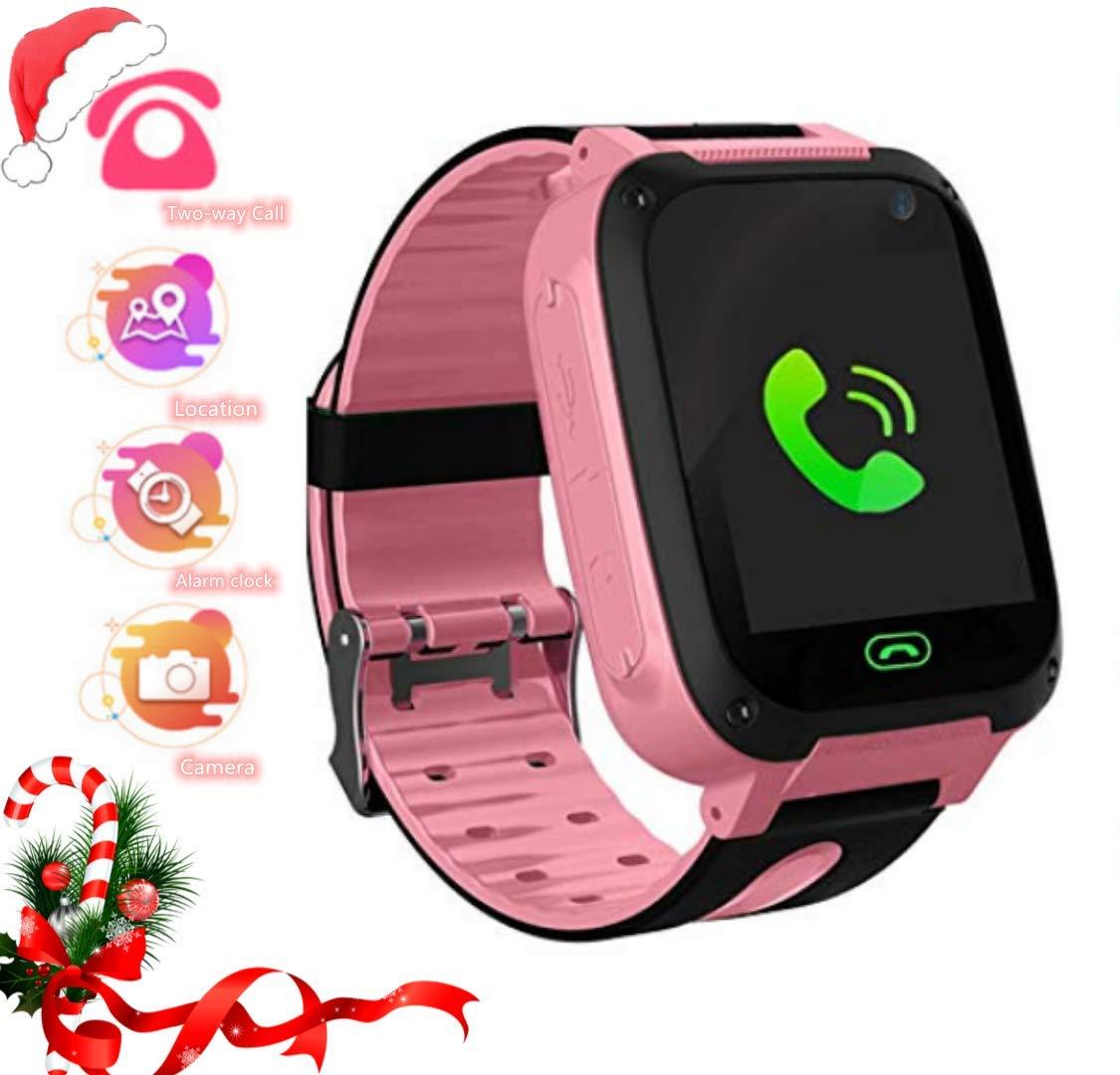 Smartwatch Niños, LDB EU Reloj Inteligente para Niños con rastreador de LBS con Linterna , Chat de Voz, SOS, Modo de Clase, Cámara, Juegos, Reloj ...