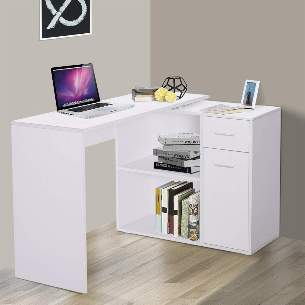 180° Rotating Corner Computer Desk L-Shaped Table Storage Shelf Drawer Combo, Writing Desk Student Desk with 2 Open Storage Shelves & 1 Drawer & 1 Door for Home Office, Easy Assembly (White)