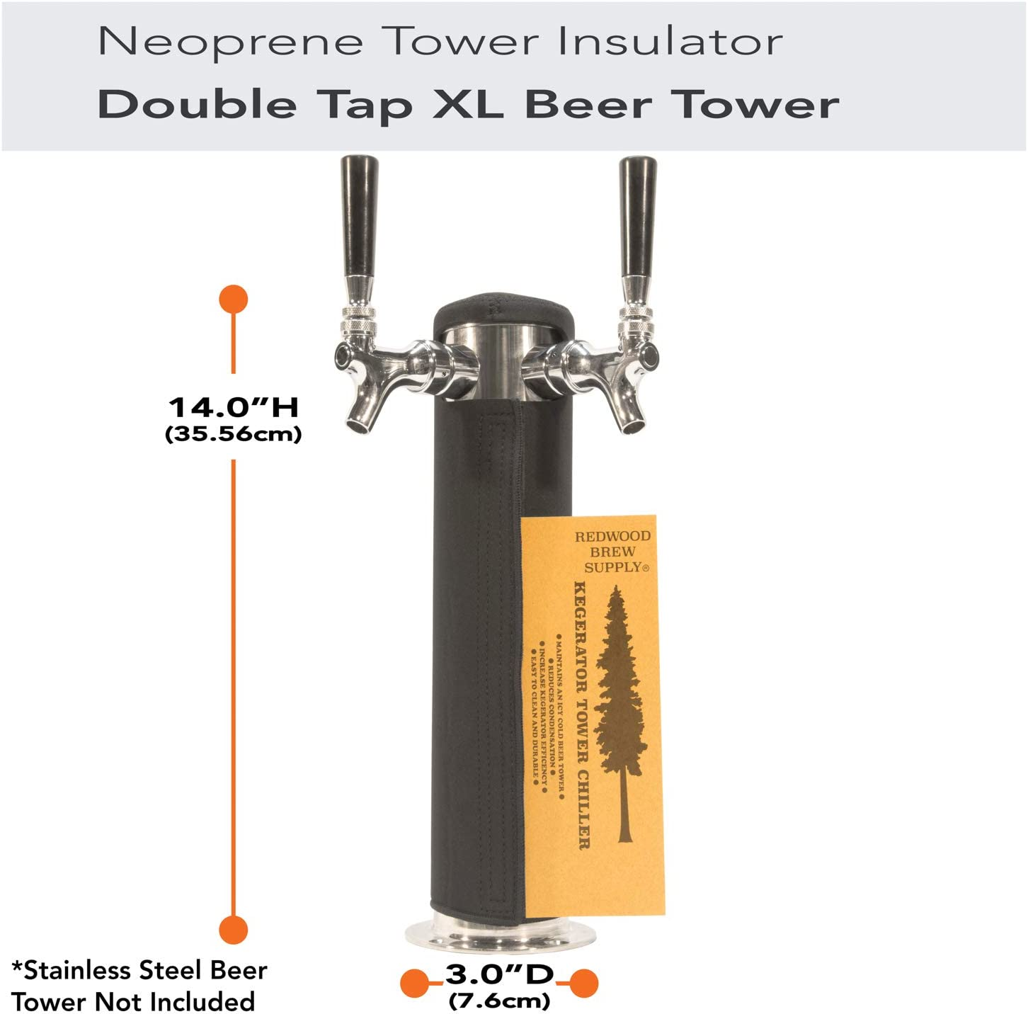 Kegerator Tower Cooler Insulator XL for Beer Tap Towers by Redwood Brew Supply (3.0