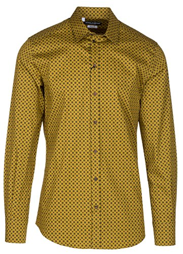Dolce & Gabbana Men's Gold Square Pattern Button Down Dress Shirt, Yellow, 15 - Dolce & Gabbana Mens Clothing