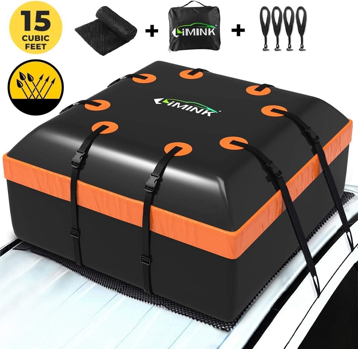 LIMINK - Portaequipajes para coche resistente al agua, plegable, con alfombrilla antideslizante + 4 ganchos para puertas, adecuado para todos los vehículos con/sin portaequipajes, 15 pies cúbicos