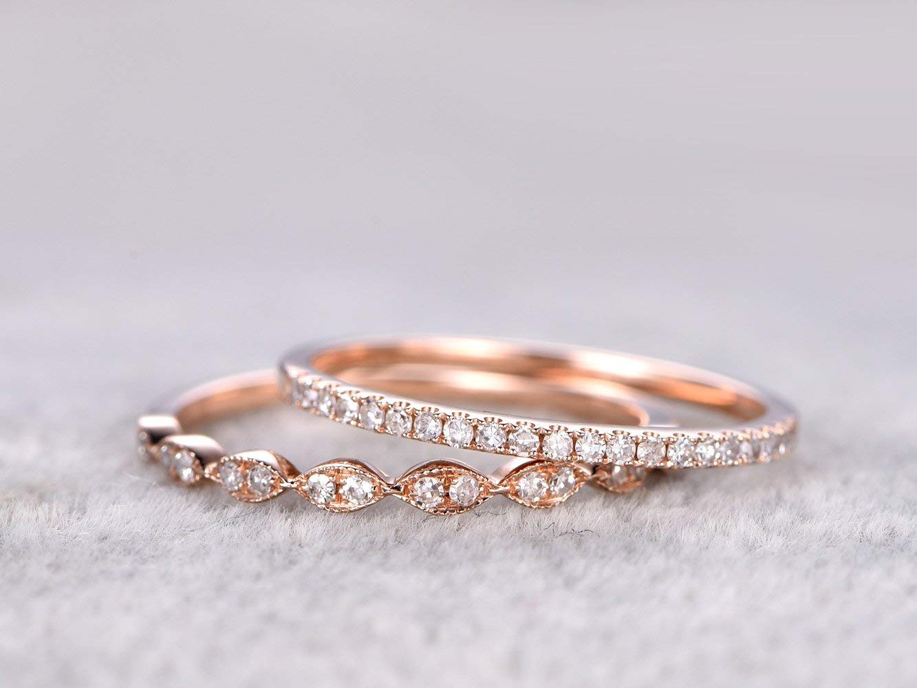 Amazon Com 2 Solid 14k Rose Gold Half Eternity Diamond Engagement