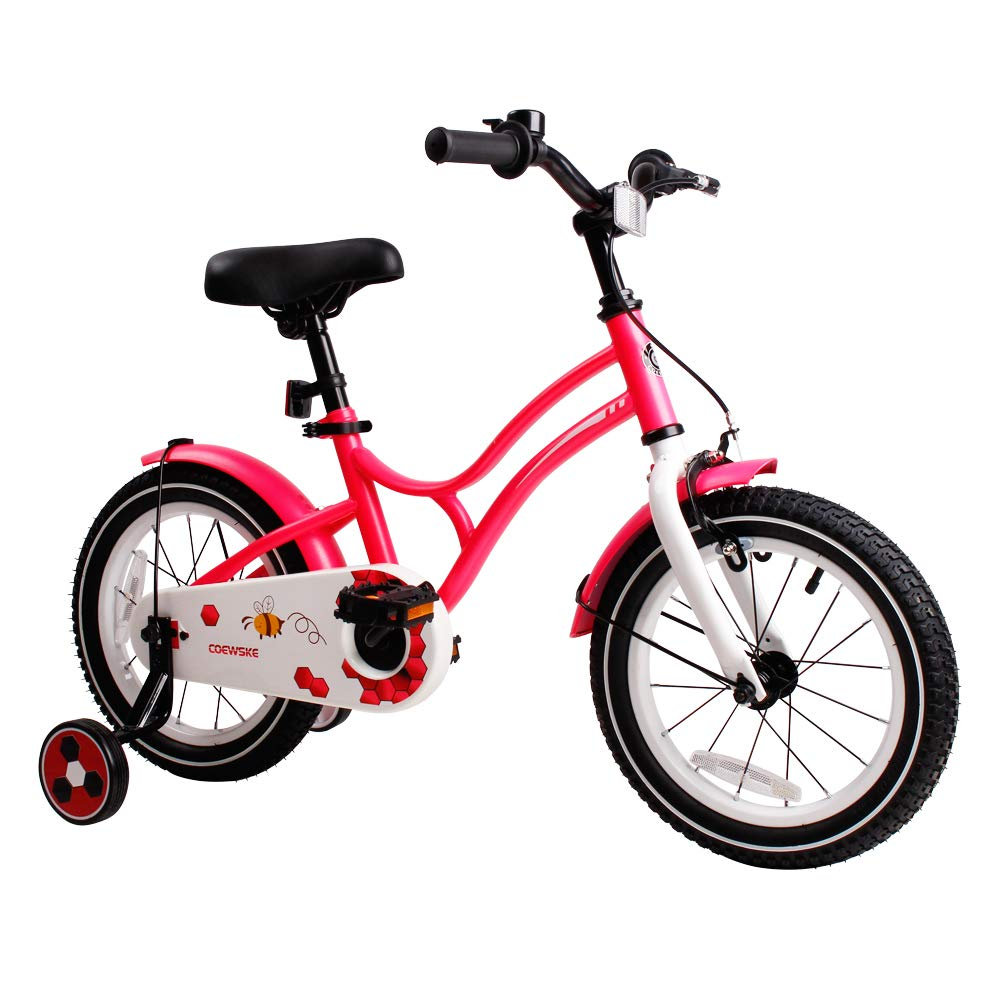 COEWSKE Kid s Bike Steel Frame Children Bicycle 14-16-18 Inch with Training Wheel