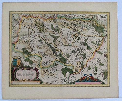 """ORIGINAL ANTIQUE 1630 Map of Charolois region of France """"Carte Geometrique Des environs de l"""