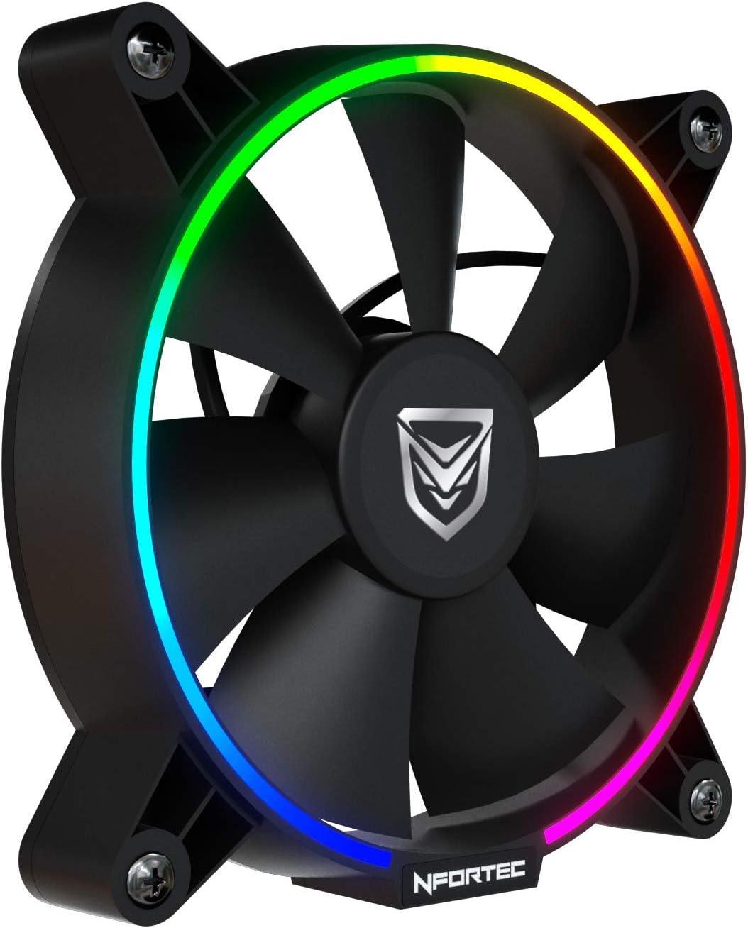 Nfortec Oberon Combo Ventiladores argb para Torre de pc con ciclos de iluminación RGB y bajo Nivel sonoro (Incluye una controladora RGB Compatible y Tres Ventiladores ...